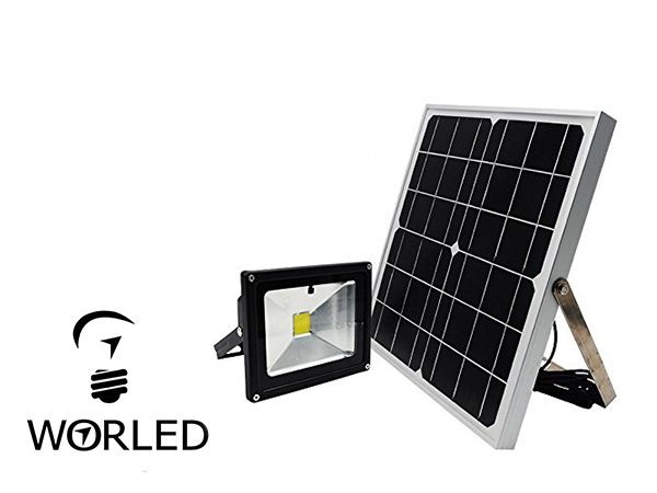 Foco proyector solar 30 w iluminaci n exterior ip65 worled for Alumbrado solar jardin